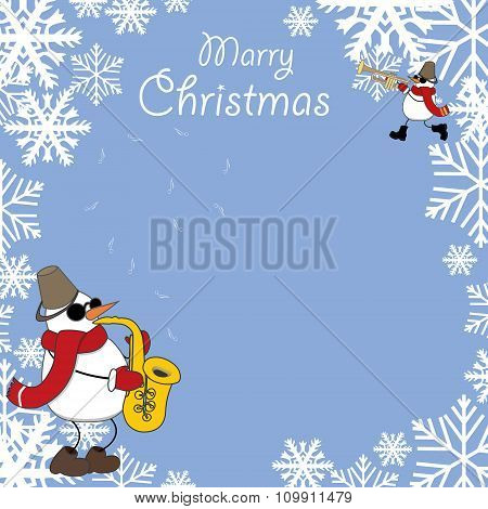 Christmas Card With Snowmen Musicians
