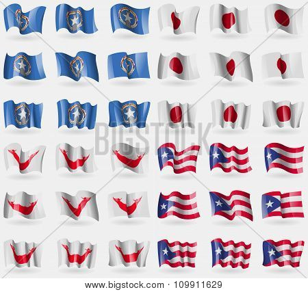 Marianna Islands, Japan, Easter Rapa Nui, Puerto Rico. Set Of 36 Flags Of The Countries Of The