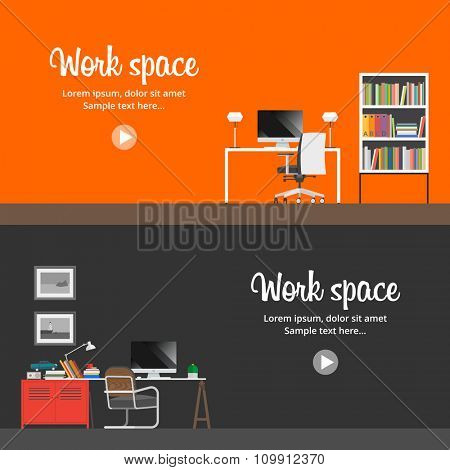 Interior workplace. Two horizontal banner. Flat style