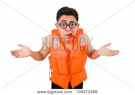 Funny man wearing orange safety vest