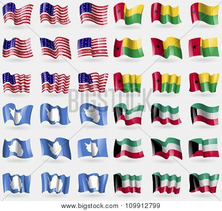 Bikini Atoll, Guineabissau, Antarctica, Kuwait. Set Of 36 Flags Of The Countries Of The World.