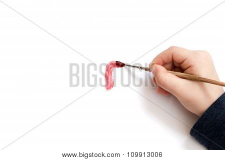 Child Hand Begins To Draw
