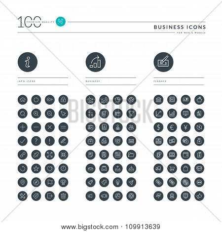 Set of thin line web icons for business