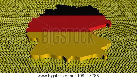 Germany map flag on golden euros coins illustration
