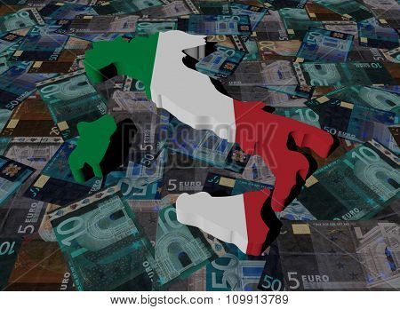 Italy Map flag on Euros illustration