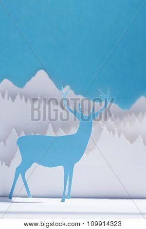 Paper Cut Deer Handmade Craft Holiday Blue Card