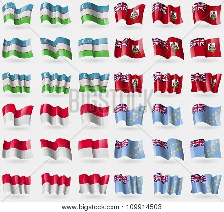Uzbekistan, Bermuda, Monaco, Tuvalu. Set Of 36 Flags Of The Countries Of The World.
