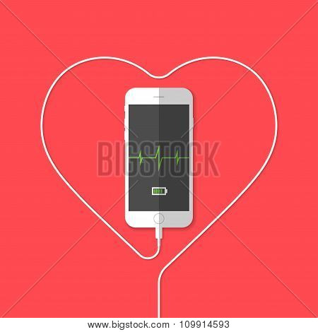 Phone, wire, heart, pulse, chart