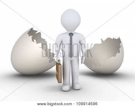 Businessman Out Of Egg