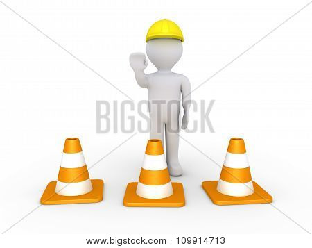 Worker And Cones