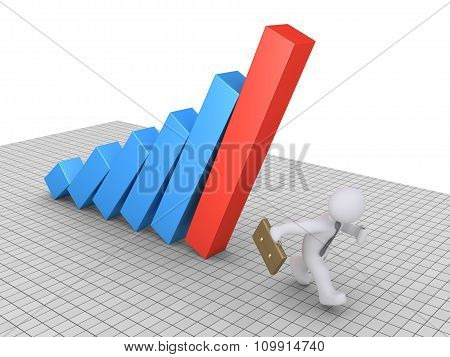 Businessman Avoiding Graph