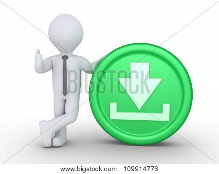 Businessman With Download Button