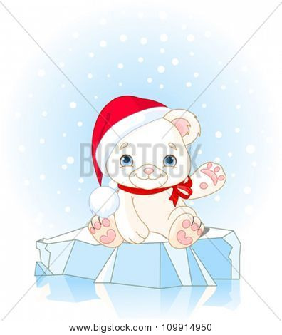 Christmas Polar Bear sits on ice floe and waiving hello