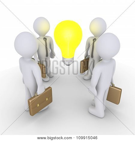 Businessmen And Light Bulb