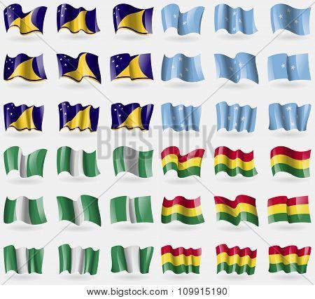 Tokelau, Micronesia, Nigeria, Bolivia. Set Of 36 Flags Of The Countries Of The World.