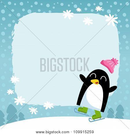 Vector Penguin, Winter Snowy Background