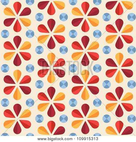 Vector Floral Seamless Pattern, Origami Style