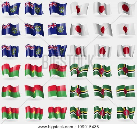 Pitcairn Islands, Japan, Burkia Faso, Dominica. Set Of 36 Flags Of The Countries Of The World.