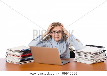 Office employee at job isolated on white