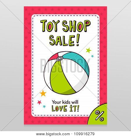 Toy Shop Vector Sale Flyer Design With Toy Ball