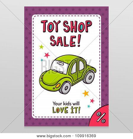 Toy Shop Vector Sale Flyer Design With Green Toy Car