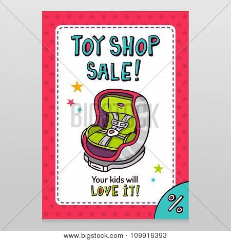 Toy Shop Vector Sale Flyer Design With Baby Car Seat