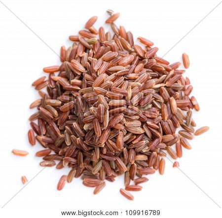 Red Rice Isolated On White