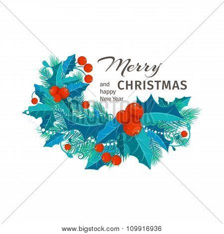 Christmas Card With Fir Branches, Mistletoe . Vector Illustration.