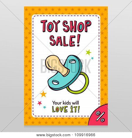 Toy Shop Vector Sale Flyer Design With Pacifier