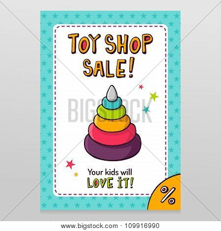 Toy Shop Vector Sale Flyer Design With Toy Pyramid With Rings For Kids