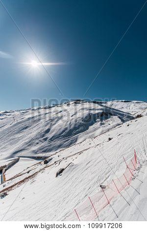 Winter mountains at ski resort
