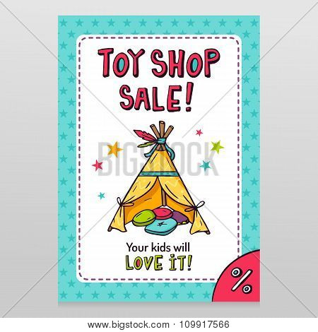 Toy Shop Vector Sale Flyer Design With Indian Wigwam For Kids