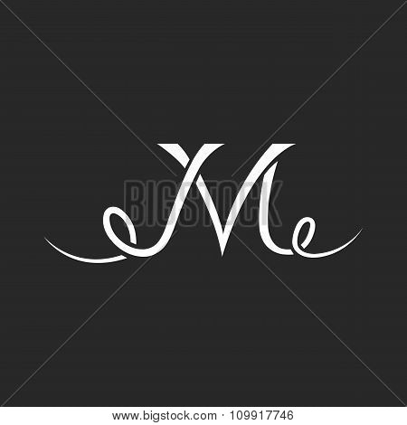 Monogram Tattoo M Letter Logo, Hand Drawn Thin Line Overlapping, Calligraphic Design Element
