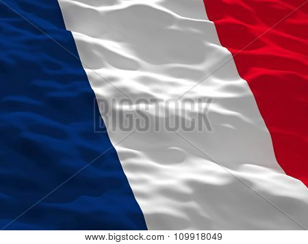 3d waved france flag background