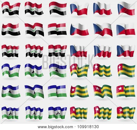 Iraq, Czech Republic, Lesothe, Togo. Set Of 36 Flags Of The Countries Of The World.