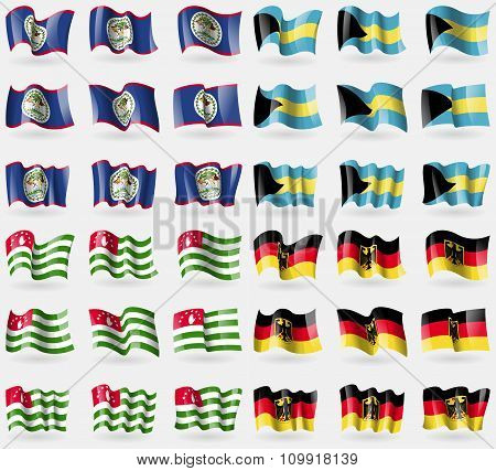 Belize, Bahamas, Abkhazia, Germany. Set Of 36 Flags Of The Countries Of The World.