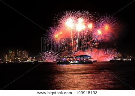 International Fireworks Festival At Pattaya, Thailand. A Great Variety Of Beautiful Colors
