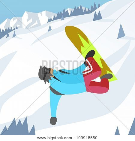 Snowboarder jumping pose on winter outdoor background. Snowboard people tricks. Snowboarder tricks. Special snowboard tricks isolated silhouette. Snowboard tricks vector illustration. Snowboarder