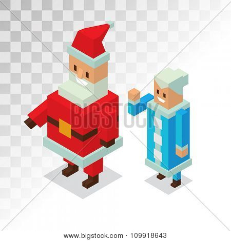 Santa Claus, Missis Claus family 3d isometric vector illustration. Christmas Missis Claus cartoot people. Missis Claus traditional costume. Santa Claus isolated on background. Santa Claus family