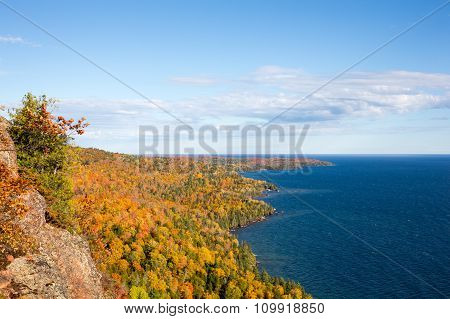 Colorful Lake Superior Shoreline With Blue Sky