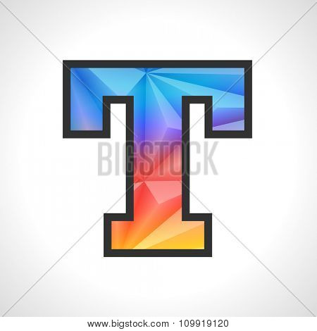 Vector Geometric Gradient Design Triangular Polygonal Font. Children style Letter T