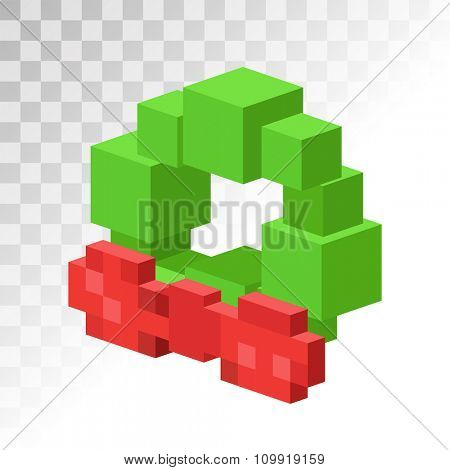 Christmas tree wreath flat 3d isometric pixel art icon. Christmas tree wreath vector. New Year wreath isolated. Christmas wreath vector illustration. New Year wreath 3d silhouette. Christmas