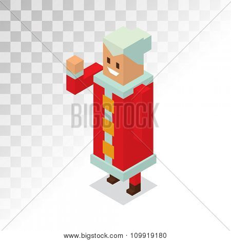 Missus Santa Claus wife 3d isometric vector illustration. Santa Claus, Missus Claus cartoon people. Missus Claus traditional costume. Santa Claus isolated on background. Santa Claus family portrait