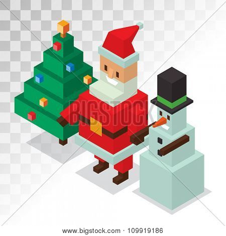 Santa Claus, snowman isometric 3d  icons vector illustration. Santa Claus cartoon people. Christmas 3d pixel art traditional costume Santa Claus snowman. Santa Claus greeting card icons