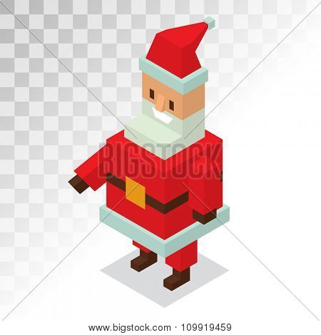 Santa Claus 3d isometric vector illustration. Santa Claus cartoot old man with red hat and sack. Santa Claus traditional costume. Santa Claus 3d isometric. Santa Claus stay, smile face. Christmas
