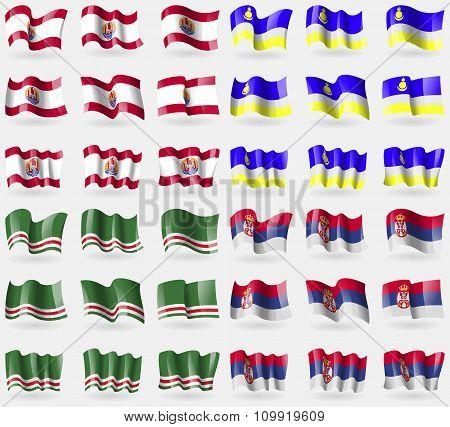 French Polynesia, Buryatia, Chechen Republic Of Ichkeria, Serbia. Set Of 36 Flags Of The Countries