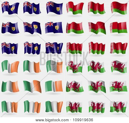 Turks And Caicos, Belarus, Ireland, Wales. Set Of 36 Flags Of The Countries Of The World.