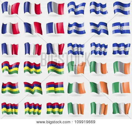 France, Honduras, Mauritius, Ireland. Set Of 36 Flags Of The Countries Of The World.