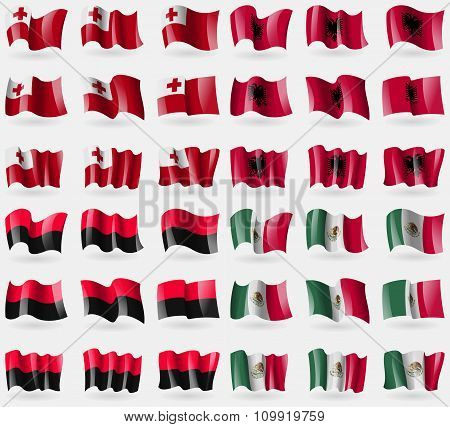 Tonga, Albania, Upa, Mexico. Set Of 36 Flags Of The Countries Of The World.