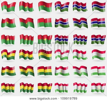 Burkia Faso, Gambia, Bolivia, Tajikistan. Set Of 36 Flags Of The Countries Of The World.